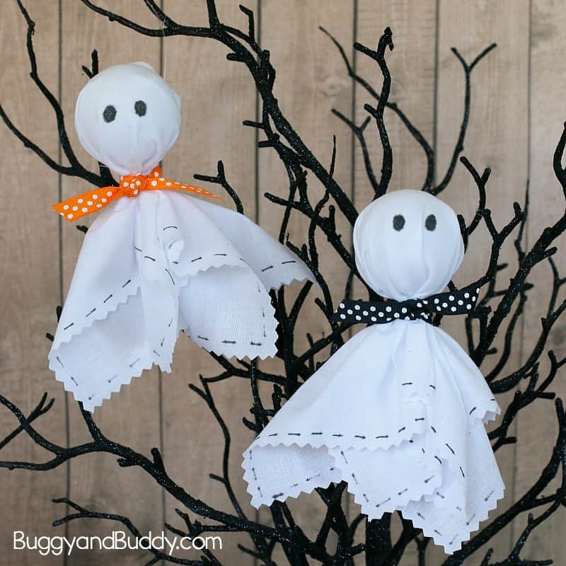 Easy Halloween Craft for Kids: Fabric Ghosts
