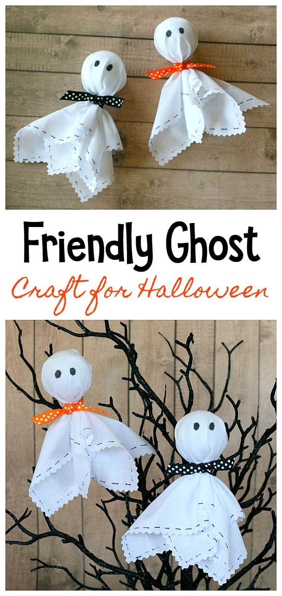 Friendly Ghost Craft for Halloween: Easy fabric ghost craft for kids and adults