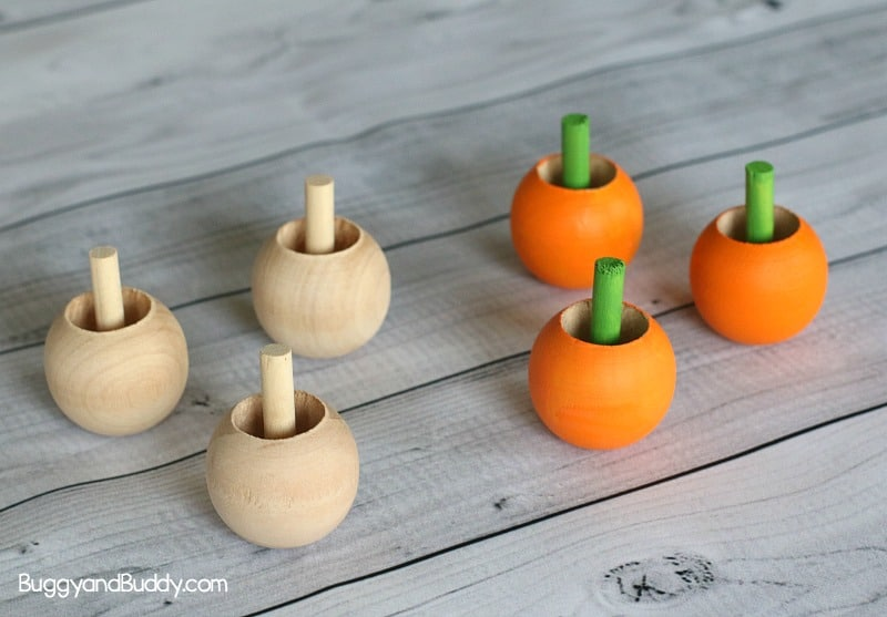 pumpkin inverted spinning top craft and science for kids for fall or Halloween
