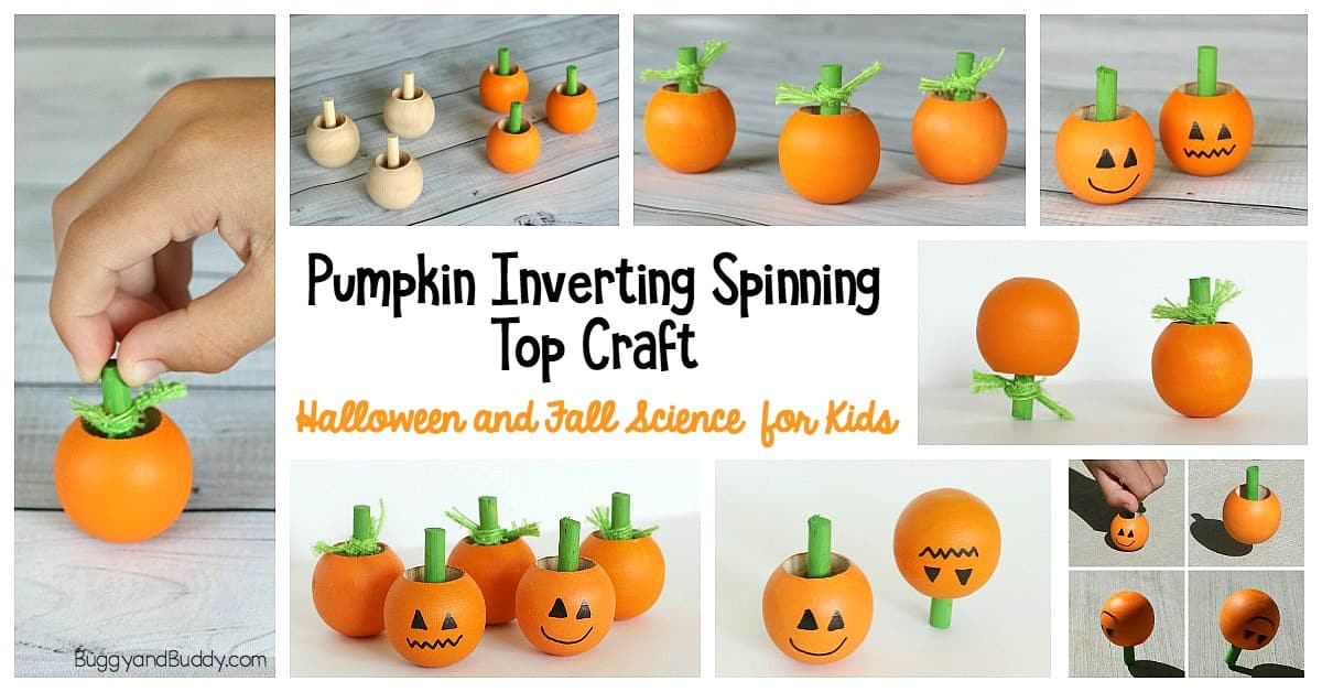 Fall and Halloween Science for Kids: Make pumpkin or jack-'o-lantern inverting spinning tops. Fun craft and STEM activity for kids to explore physics!