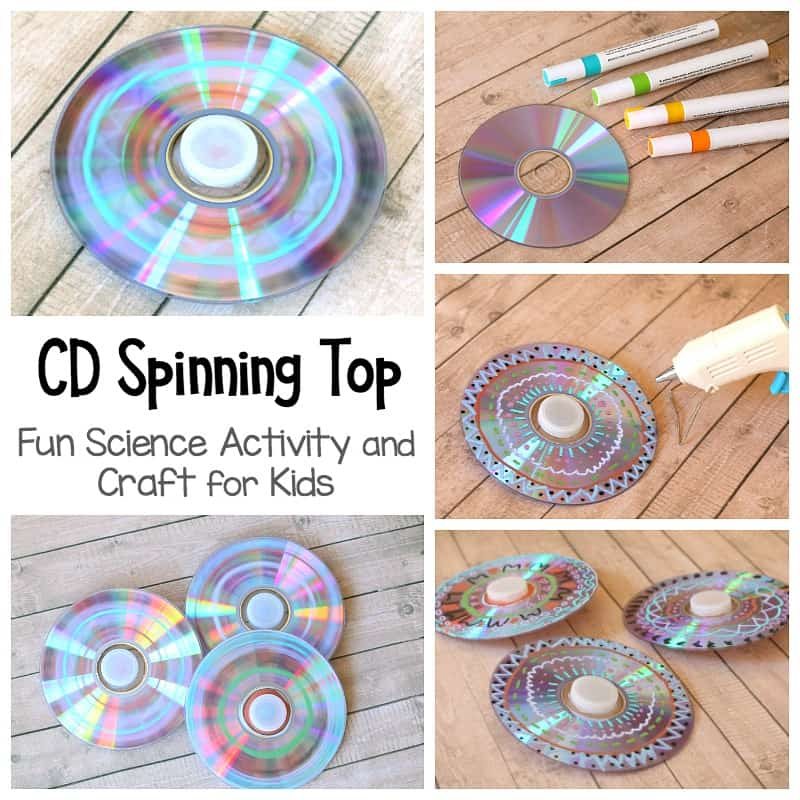 How to Make a Spinning Top with a CD: Fun science project, STEM activity and craft for kids!