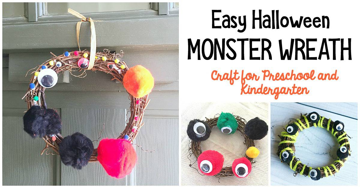 Easy Halloween Monster Wreath Craft for Kids