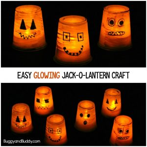 Easy Glowing Jack-O-Lantern Craft for Kids Using a Plastic Cup