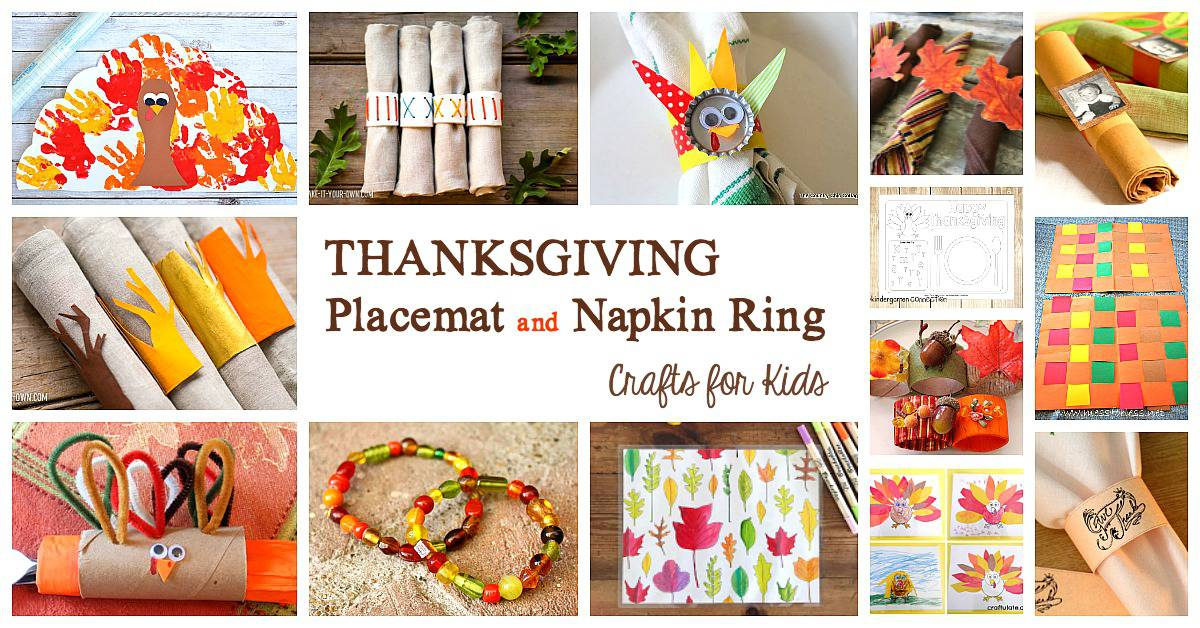 Thanksgiving Placemat Crafts and Napkin Ring Crafts for Kids