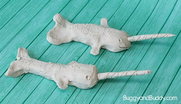 clay narwhal art project for kids inspired by the book Not Quite Narwhal