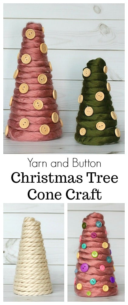 DIY Yarn Wrapped Christmas Trees: Make these yarn-wrapped Christmas trees to decorate your home or classroom for the holidays! This Christmas craft is perfect for older elementary aged children and adults too! #christmas #christmascrafts