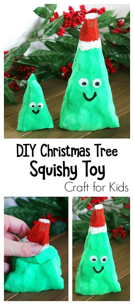 DIY Christmas Tree Squishy Toy: How to make squishies- a fun craft for kids and sensory and fidget toy!