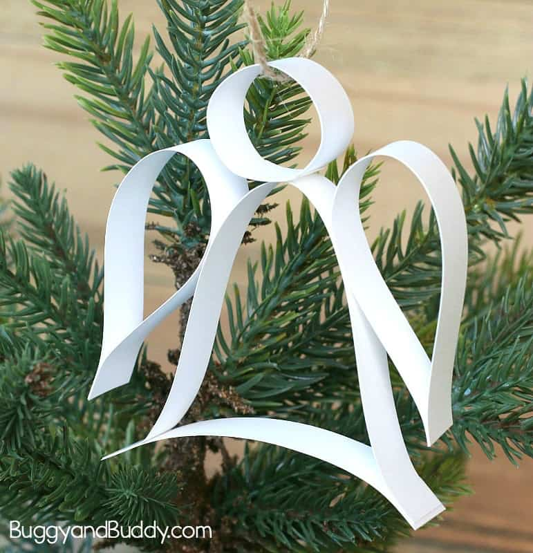 Paper Strip Angel Ornament Christmas Craft (with Free Template)
