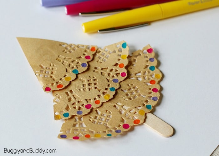 decorate your paper doily christmas tree ornament craft for kids
