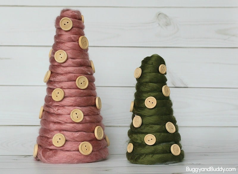 DIY Yarn Wrapped Cone Christmas Tree Craft