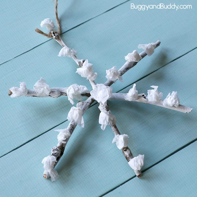 Tissue Paper and Twig Snowflake Craft for Kids