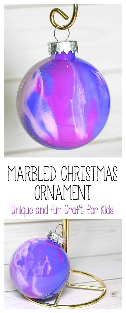 how to make marbled christmas ornaments- a fun Christmas art project for kids