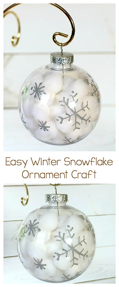 Winter Snowflake Ornament Craft for Kids: Use pom poms and clear plastic bulbs to make these easy and quick Christmas ornaments. Great fine motor practice and perfect for kids of all ages (toddler, preschool and up!) Perfect for a classroom holiday party or to do together as a family. ~ BuggyandBuddy.com #diyornaments #christmasornaments #kidornaments #christmascrafts