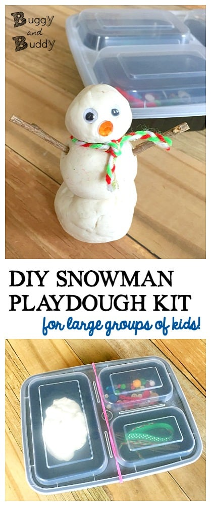 Homemade Snowman Playdough Kit: A winter sensory activity and invitation to create for preschool and kindergarten. Here's how to make individual snowman playdough kits with your entire class or group of kids on a playdate! ~ BuggyandBuddy.com #wintersensoryplay #snowmancraft