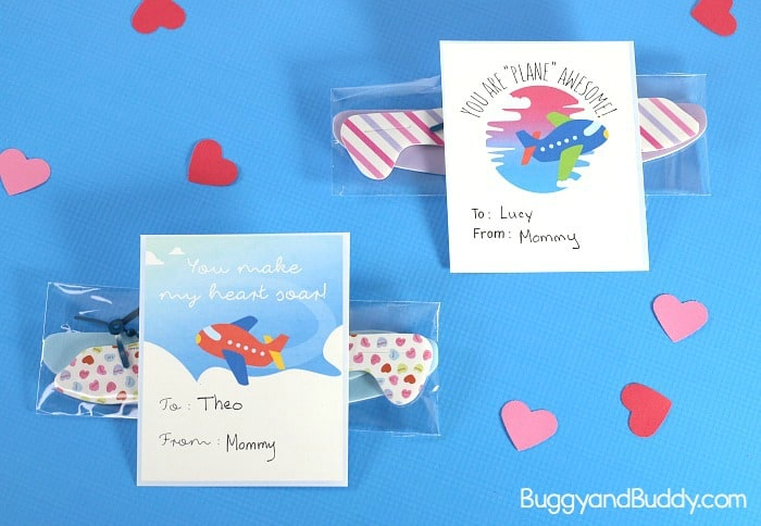free printable airplane valentines with glider favor