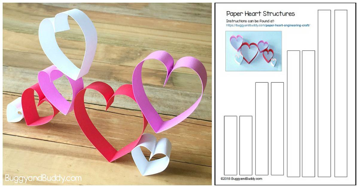 valentine's day craft for kids using paper hearts with free printable template