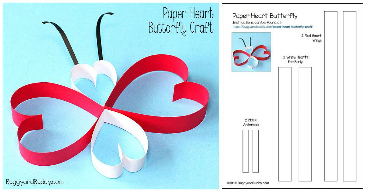 Paper Heart Butterfly Craft Buggy And Buddy