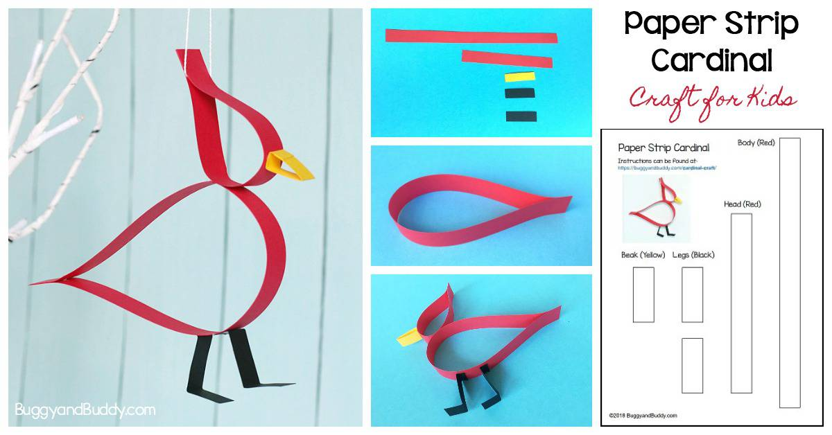 Paper Cardinal Craft for Kids with free printable template: perfect winter craft or addition to a bird unit