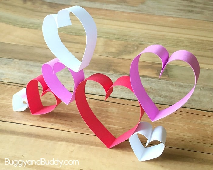 valentine's day craft for kids using paper hearts with free printable template- STEM Challenge for kids