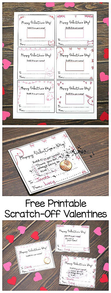 Free Printable Scratch-Off Valentines: Kids can write their own messages on these free printable valentine cards for the recipient to scratch-off. Such a special valentine for Valentine's Day! ~ BuggyandBuddy.com