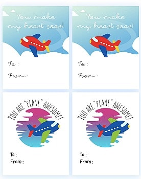 Free Printable Glider Plane or Airplane Valentine Template PDF