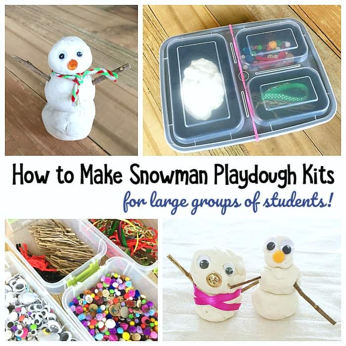 DIY Snowman Playdough Kit: Winter sensory play for kids and perfect for the preschool or kindergarten classroom!