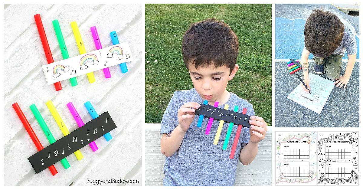 STEM / STEAM for Kids: Explore the sound of science with a homemade pan flute craft with free printable recording sheets to write your own songs!