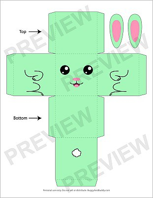 free bunny box craft template for Easter