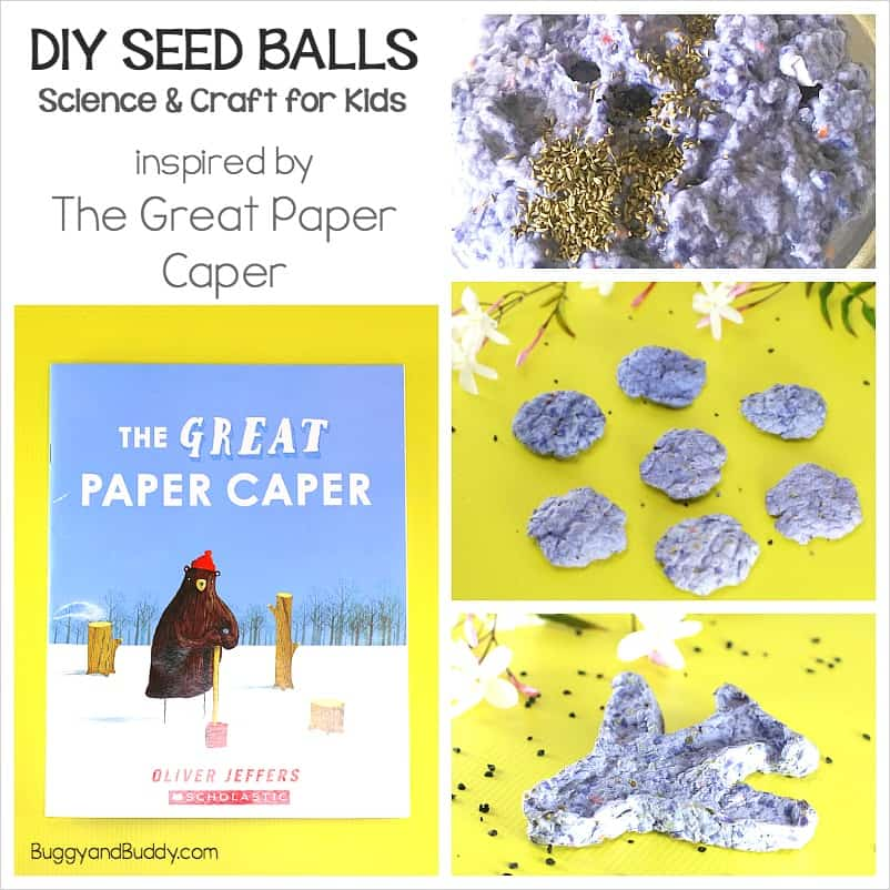 how to make seed balls: science and craft for kids based on the book The Great Paper Caper by Oliver Jeffers- perfect for Earth Day