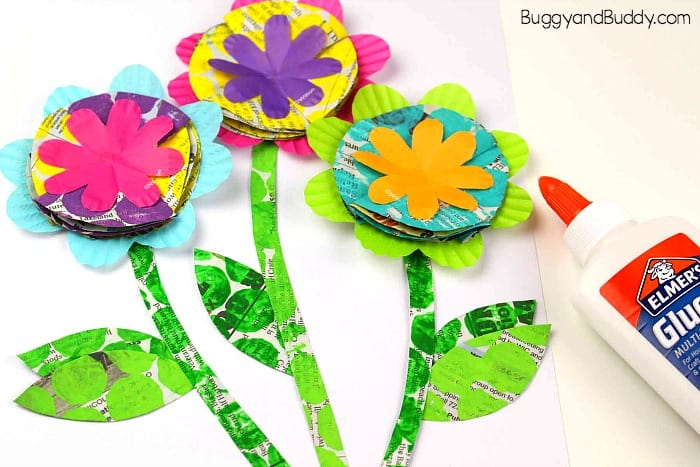 glue your leaves and stems onto your flower craft