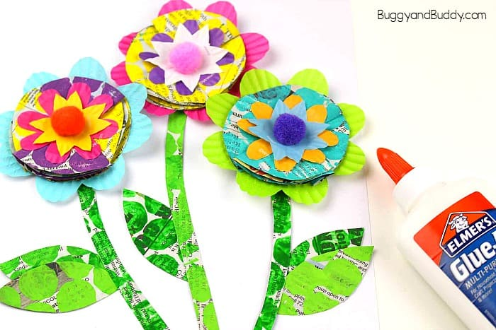 glue a pom pom in the center of your flower craft