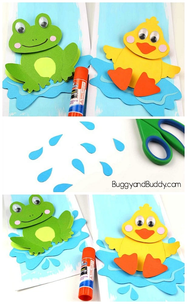 Cut out some water drops. Glue all the pieces onto your painted paper. Add your frog and duck to the pond background.