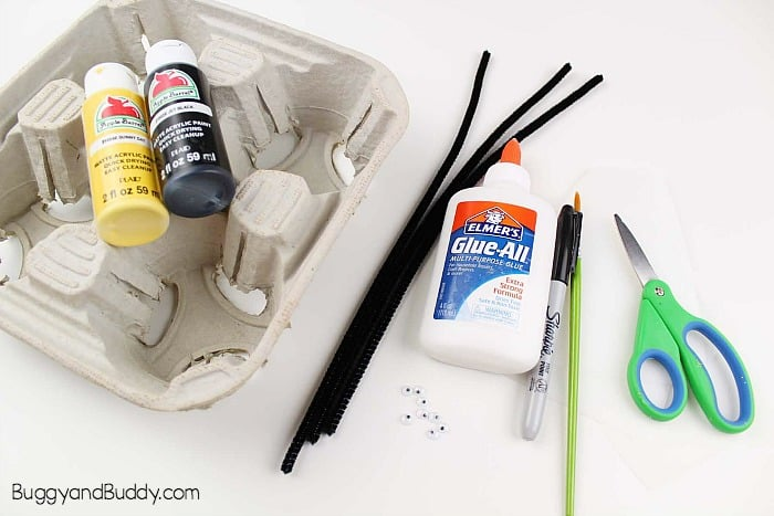 materials for bumble bee craft for kids using recycled materials