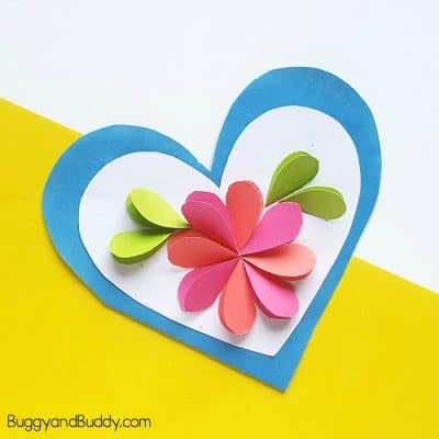 Homemade Heart and Flower Card Craft for Kids
