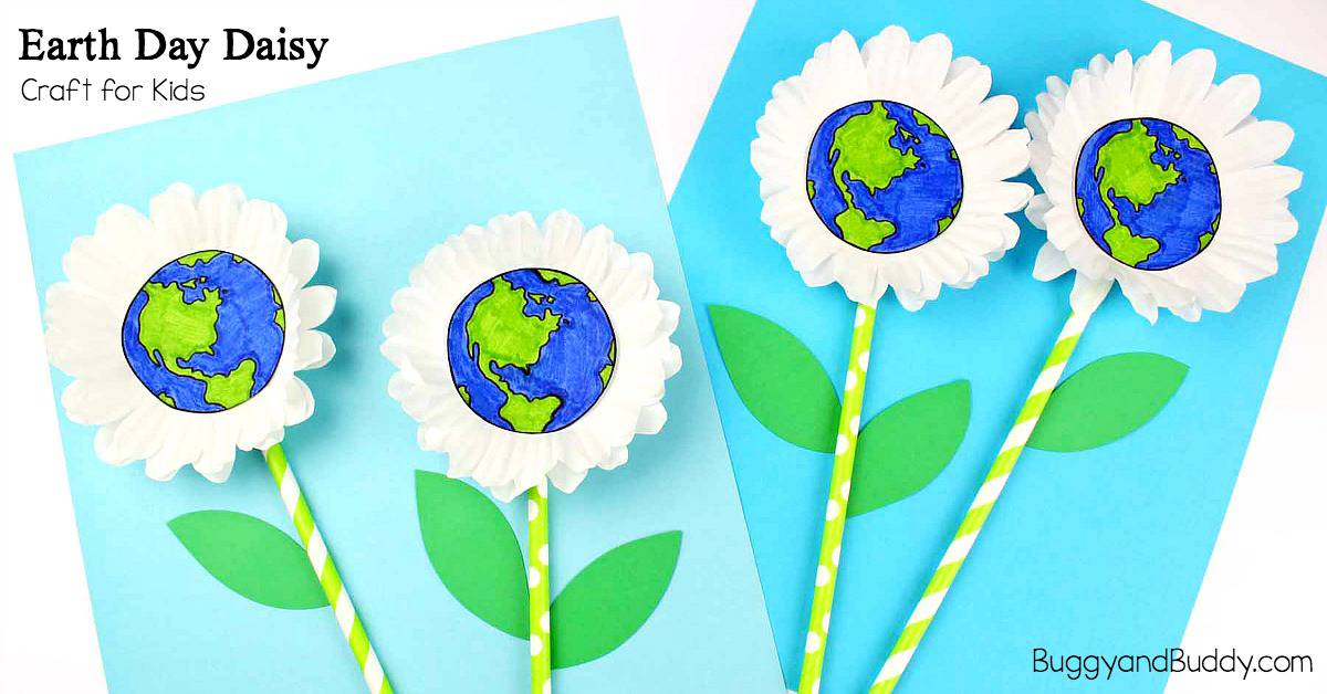 Earth Day Craft for Kids: Cupcake Liner Daisy Flower Craft for Kids