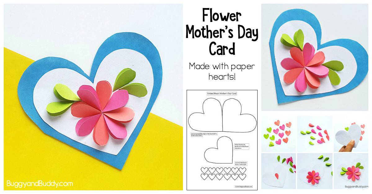 easy to make flower card for Mother's Day, Valentine's Day or a birthday. Includes a free template.