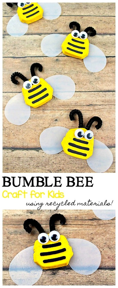 how to make a bumble bee craft for kids using recycled materials- perfect for spring, summer, earth day or an insect or bug unit