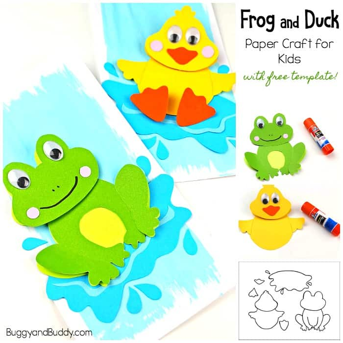 photo relating to Duck Template Printable identified as Frog Craft and Duck Craft for Children with Template - Buggy and