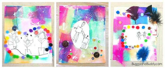 Collage Art Project For Kids Using Bleeding Tissue Paper Buggy And