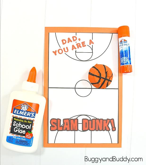 glue the free father's day card and egg carton basketball