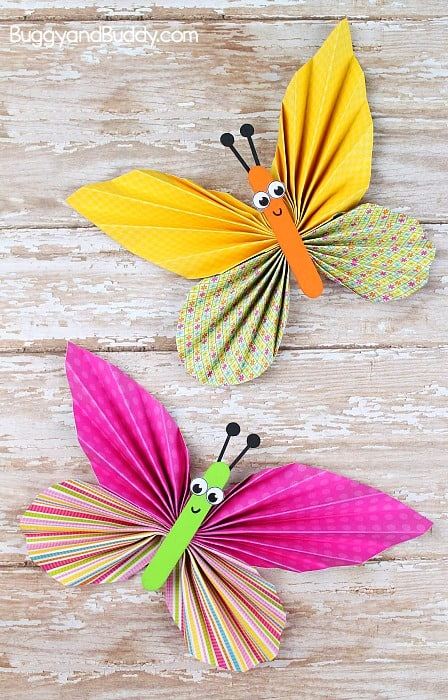folded paper butterfly craft for kids