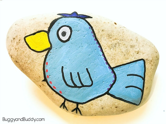 Art and Craft for Kids: How to draw a bird and paint a bird on a rock or stone