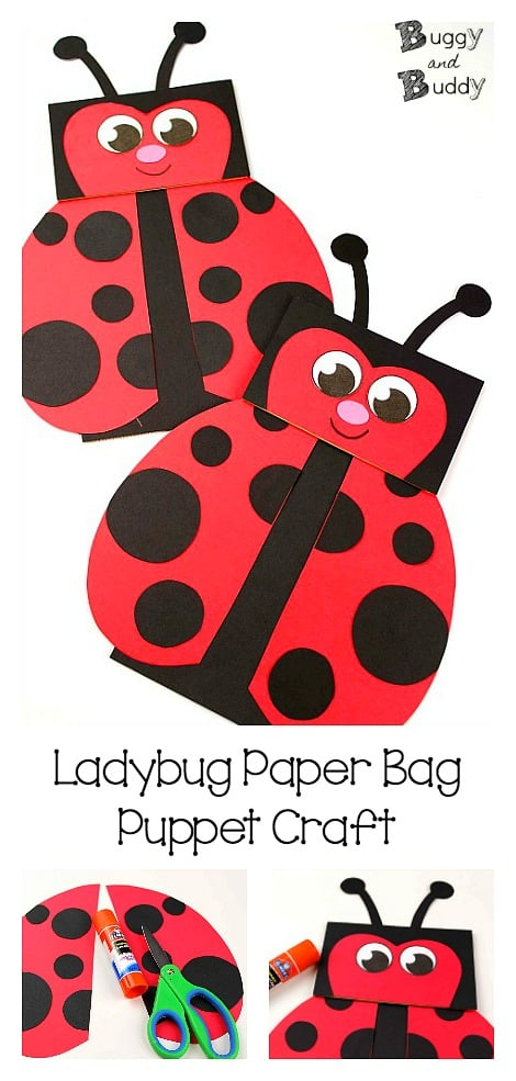 Paper Bag Puppet Ladybug Craft: Turn a paper bag into a cute ladybug puppet using our free ladybug template! Perfect for a spring or summer project or for a unit on bugs or insects. Also goes great with ladybug picture books like The Grouchy Ladybug by Eric Carle. ~BuggyandBuddy.com #ladybugcraft #paperbagcraft #paperbagpuppet #ladybug #craftforkids