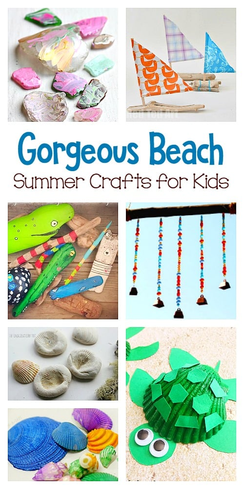 9 Gorgeous Beach Nature Crafts for Kids: Creative ways for children to craft and create using natural items from the beach including seashells, sea glass, and driftwood. #oceancrafts #beachcrafts #naturecrafts