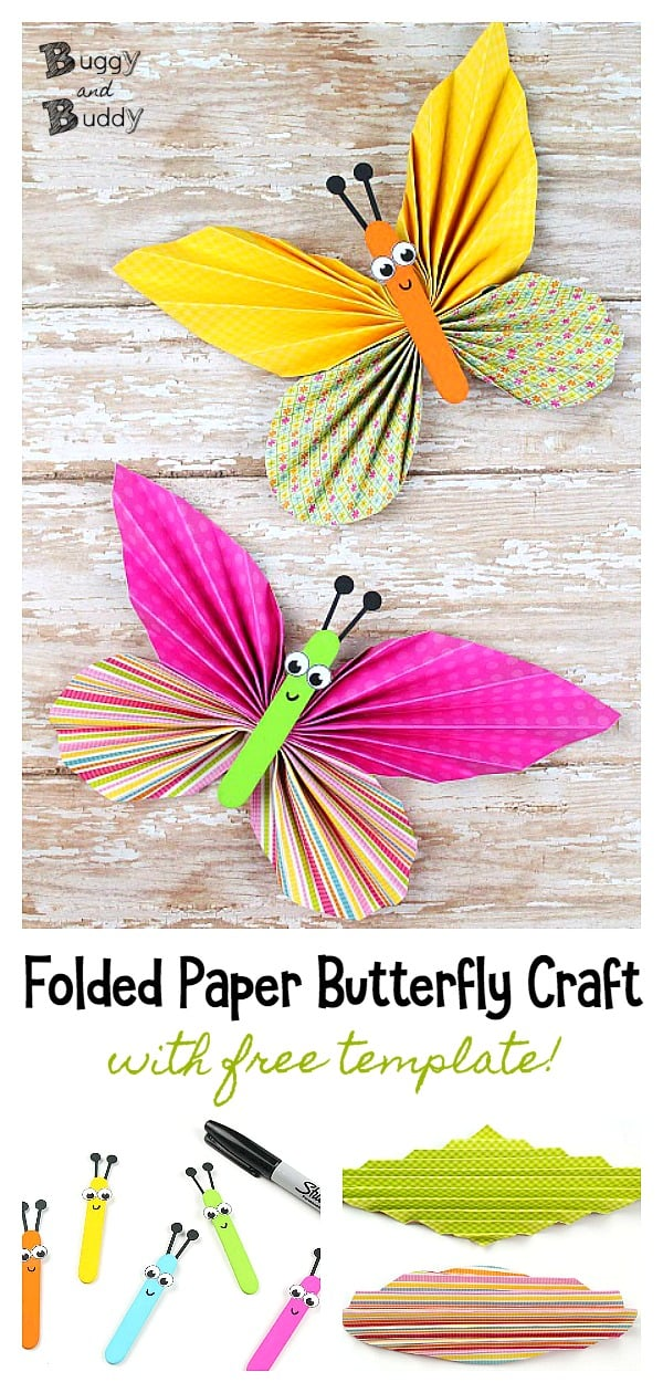 Folded Paper Butterfly Craft for Kids with Printable Templates