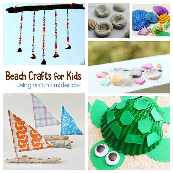 Gorgeous Summer Beach Crafts for Kids Using Natural Materials like shells, sea glass and driftwood!