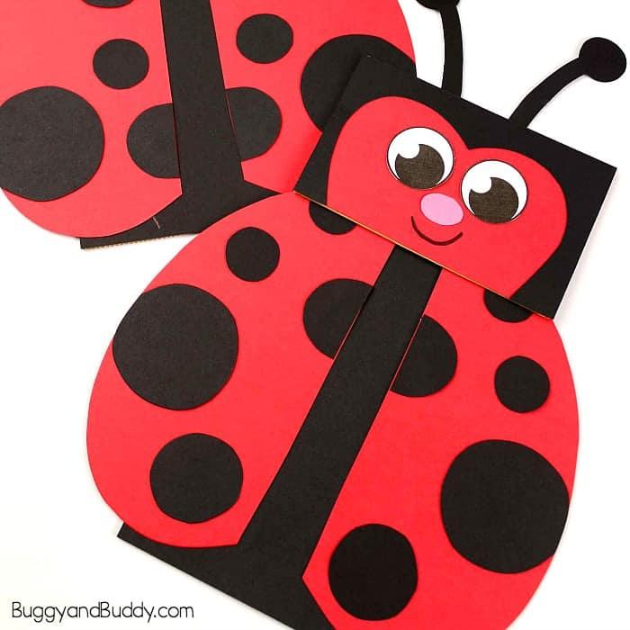 Paper Bag Puppet Ladybug Craft for Kids