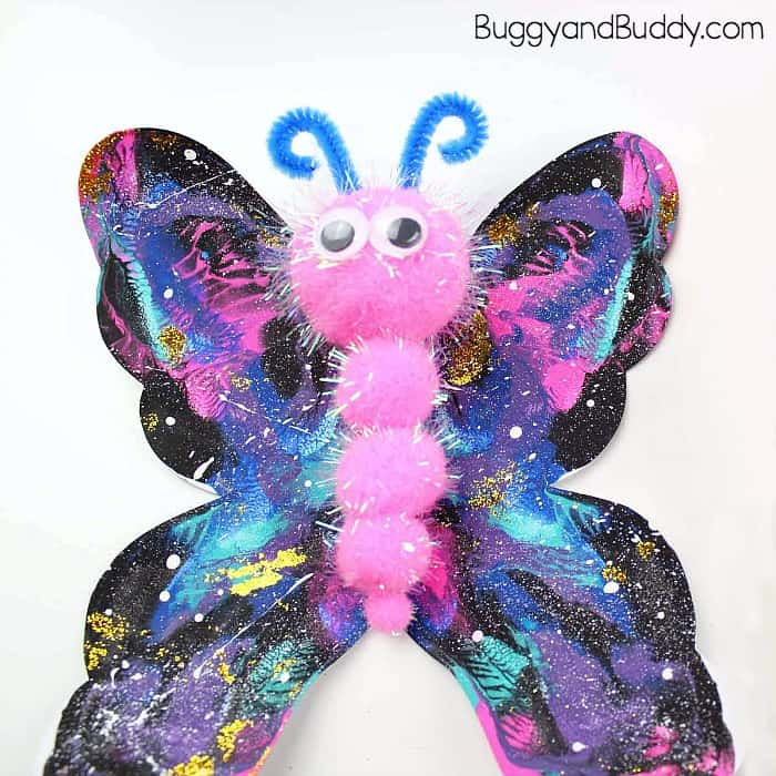 galaxy blotto painted butterfly craft for kids