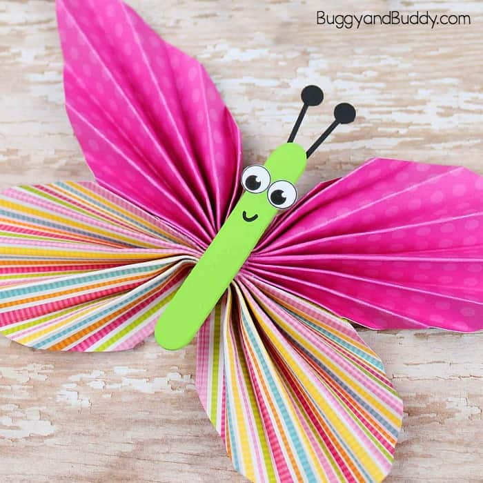 paper butterfly craft ideas folded paper butterfly craft for buggy and buddy 5072