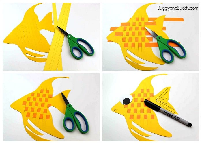 how to make a woven paper angelfish craft for kids